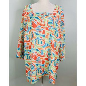 Maggie Barnes Blouse Popover 3X 3/4 Sleeves